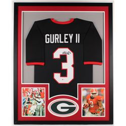 Todd Gurley Signed Georgia Bulldogs 34x42 Custom Framed Jersey Display (Beckett COA)