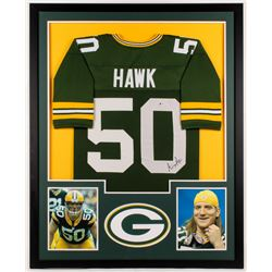 A. J. Hawk Signed Packers 34x42 Custom Framed Jersey (Beckett COA)