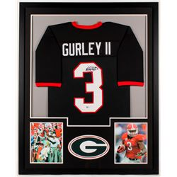 Todd Gurley Signed Bulldogs 34x42 Custom Framed Jersey (Beckett Hologram)