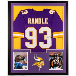 John Randle Signed Vikings 34x42 Custom Framed Jersey (Beckett COA)
