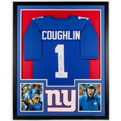 Tom Coughlin Signed Giants 34x42 Custom Framed Jersey (Beckett COA)