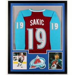 Joe Sakic Signed Avalanche 34x42 Custom Framed Jersey (Beckett COA)
