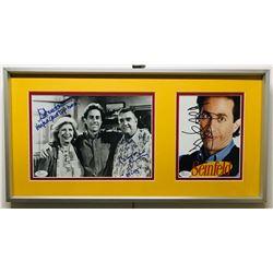 "Jerry Seinfeld, Liz Sheridan  Barney Martin Signed ""Seinfeld"" 10.5x20.5 Custom Framed Photo Display"