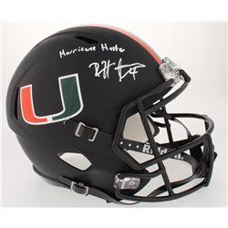 """Devin Hester Signed Miami Hurricanes Custom Matte Black Full-Size Speed Helmet Inscribed """"Hurricane"""