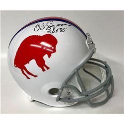 "O.J. Simpson Signed Bills Full-Size Helmet Inscribed ""H.O.F 85'"" (JSA COA)"