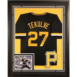 Kent Tekulve Signed Pirates 34x42 Custom Framed Jersey (JSA COA)