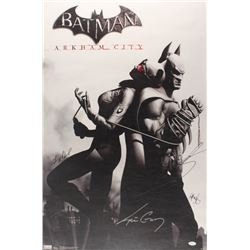 """Batman: Arkham City"" 22.5x34 Poster Signed by (4) With Kevin Conroy, Troy Baker, Tara Strong, Grey"