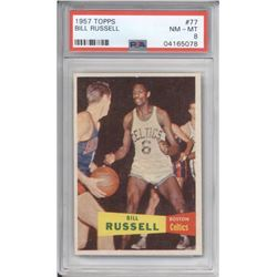 1957-58 Topps #77 Bill Russell RC (PSA 8)