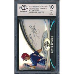 2011 Bowman Platinum Prospect Autograph Refractors #BH Bryce Harper (BCCG 10)