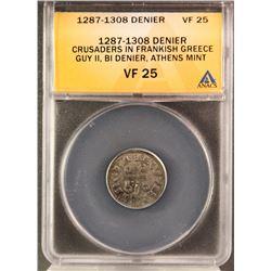 1287-1308 Guy II. Crusaders in Frankish Greece Bi Denier, Athens Mint Silver Coin (ANACS VF 25)
