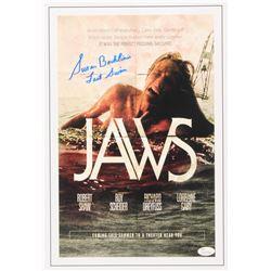 "Susan Backlinie Signed ""Jaws"" 11x17 Movie Poster Photo Inscribed ""Last Swim"" (JSA COA)"