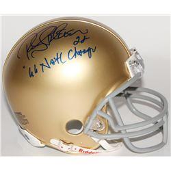 "Rocky Bleier Signed Notre Dame Fighting Irish Mini Helmet Inscribed ""2x 66 Natl Champs"" (Schwartz CO"