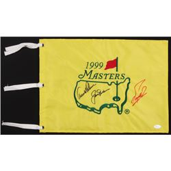 Arnold Palmer, Jack Nicklaus  Fuzzy Zoeller Signed 1999 Masters Golf Pin Flag (JSA LOA)