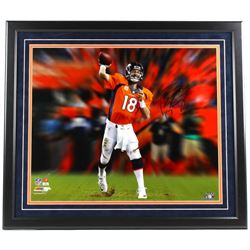 Peyton Manning Signed Broncos 26x30 Custom Framed Photo Display (Steiner COA)