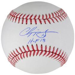 """Chipper Jones Signed Baseball Inscribed """"HOF 18"""" (Fanatics Hologram)"""