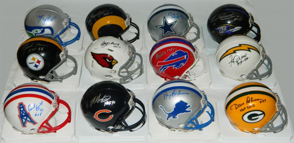 b6185753 Lot of (12) Signed Football Hall of Famers Riddell NFL Team Logo ...