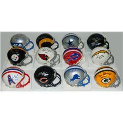 Lot of (12) Signed Football Hall of Famers Riddell NFL Team Logo Mini Helmets (Schwartz COA)