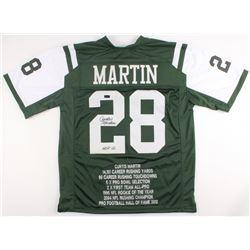 """Curtis Martin Signed Jets Career Highlight Stat Jersey Inscribed """"HOF 12"""" (Radtke COA)"""