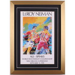 "LeRoy Neiman ""Ali-Spinks"" 16x19 Custom Framed Print Display"