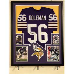 Chris Doleman Signed Vikings 34x42 Custom Framed Jersey (JSA COA)