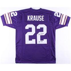 "Paul Krause Signed Vikings Jersey Inscribed ""HOF 98"" (JSA COA)"