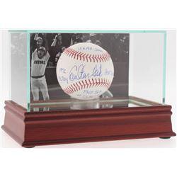"Carlton Fisk Signed OML Baseball Inscribed ""HOF 2000"", ""1972 AL ROY"", ""Red Sox #27 Retired""  ""11x Al"