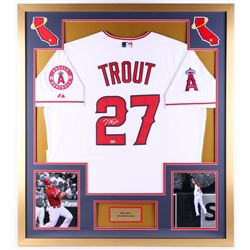 Mike Trout Signed Angels 34x38 Custom Framed Jersey Display (MLB Hologram)