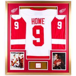 Gordie Howe Signed Red Wings 34x38 Custom Framed Cut Display (PSA)