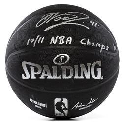 "Dirk Nowitzki Signed LE NBA Arena Series Black Basketball Inscribed ""10/11 NBA Champs"" (Panini COA)"