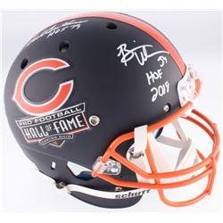 Brian Urlacher, Dick Butkus,  Mike Singletary Signed Bears Hall of Fame Commemorative Custom Matte N
