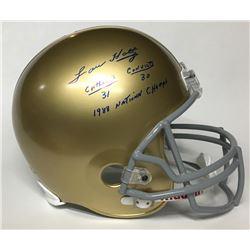 Lou Holtz Signed Notre Dame Fighting Irish Full-Size Helmet with Extensive Inscription (Beckett COA)