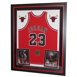 """Michael Jordan Signed Bulls 36x44 Custom Framed Limited Edition Jersey Display With """"Class of 2009"""""""