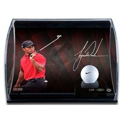 Tiger Woods Signed 8x10 Limited Edition Curve Photo Display with Range Driven Nike Golf Ball (UDA CO