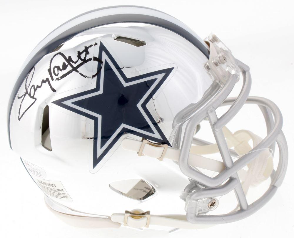 15aca693422 Image 1 : Tony Dorsett Signed Cowboys Mini Chrome Speed Helmet (JSA COA)