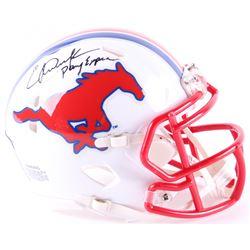 "Eric Dickerson Signed SMU Mustangs Speed Mini Helmet Inscribed ""Pony Express"" (Schwartz COA)"