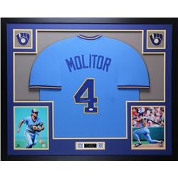"Paul Molitor Signed Brewers 35"" x 43"" Custom Framed Jersey (JSA COA)"
