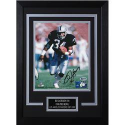 Bo Jackson Signed Raiders 14x18.5 Custom Framed Photo Display (Beckett COA  Jackson Hologram)