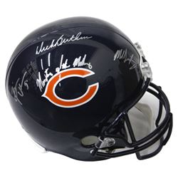 "Dick Butkus, Mike Singletary  Brian Urlacher Signed Bears Full-Size Helmet Inscribed ""Monsters of th"