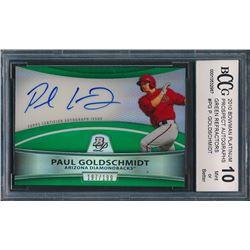 2010 Bowman Platinum Prospect Autographs Green Refractors #PG Paul Goldschmidt (BCCG 10)