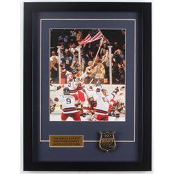 "1980 Team USA ""Miracle on Ice"" 16x21 Custom Framed Photo with USA Bronze Emblem"
