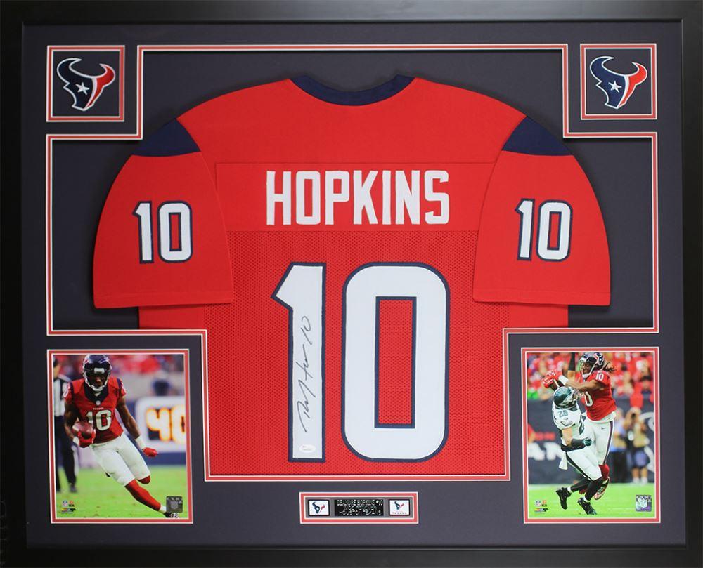 b74079e4 DeAndre Hopkins Signed Texans 35x43 Custom Framed Jersey Display