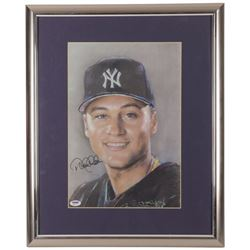 Derek Jeter Signed Yankees 18x22 Framed Lithograph Display (PSA Hologram)
