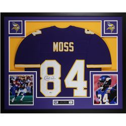 Randy Moss Signed Vikings 35x43 Custom Framed Jersey Display (Beckett COA)