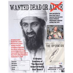 """Robert O'Neill Signed LE """"Bin Laden Wanted Dead or Alive"""" 11x14 Photo (PSA COA)"""