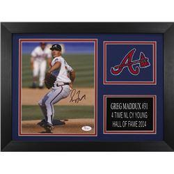 Greg Maddux Signed Braves 14x18.5 Custom Framed Photo Display (JSA COA)