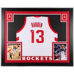 James Harden Signed Rockets 35x43 Custom Framed Jersey (Beckett COA)