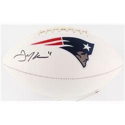 Julian Edelman Signed Patriots Logo Football (JSA COA)
