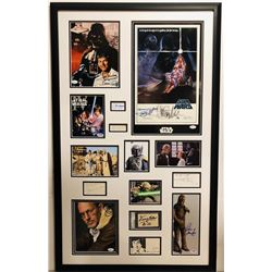 Star Wars 26x42 Custom Framed Display Signed by (12) with Harrison Ford, Carrie Fisher, Mark Hamill,