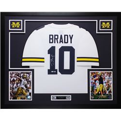 Tom Brady Signed Michigan Wolverines 35x43 Custom Framed Jersey (TriStar)