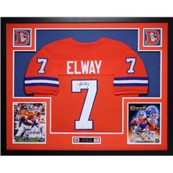"John Elway Signed Broncos 35"" x 43"" Custom Framed Jersey (JSA COA)"